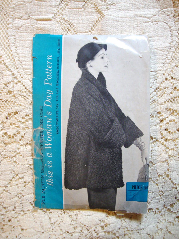 Jahrgang 1950 Frauen Tag Schnittmuster für Swing Jacke Pelzjacke von ...