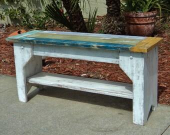 Island Style Wood Bench, Indoor Bench, Coastal Living Room, Mudroom Bench, Indoor Bench,  Entry Bench, Wooden Bench, Entryway Bench, Entry