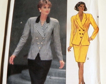 """1990s Fitted Blazer Suit Jacket Pencil Skirt Double breasted hip length sewing pattern Butterick 5702 Size 12 14 16 Bust 34 36 38"""" UNCUT FF"""