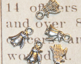 5 mini Penguin 7 silver-plated charms 5x11mm