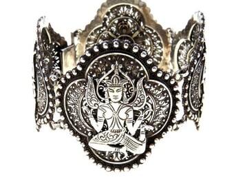 "Wide Silver Panels Bracelet with Dancing Goddess, 8"""