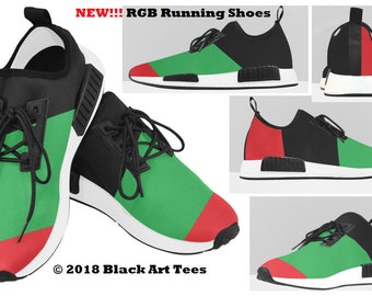 Red-Green-Black Striped Running Shoes, Afrocentric Running Shoes, Men's Afrocentric Running Shoes, RGB athletic shoes, RGB sneakers