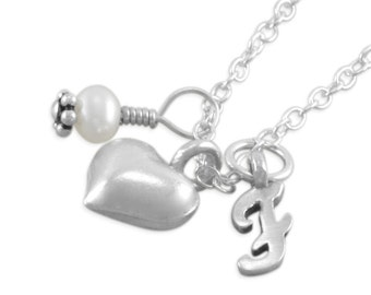 Heart Necklace, Sterling Silver, little girls jewelry, personalized, pearl, hearts, monogram, pearl, child, childrens, kids gifts, FRANCESCA