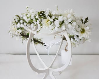 Floralistic - Handmade White Babys Breath and Daisy Artificial Flower Crown - Bridal Headpiece - Halo - Fascinator