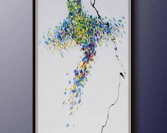 "Animal painting 55"" Humming bird Oil Painting, Original Art on Canvas , Hand made, by Koby Feldmos"