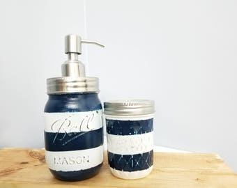 2pc Mason Jar Soap Dispenser Set - navy and white
