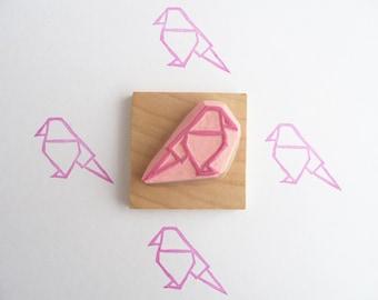 Tampon en gomme, motif oiseau origami, gravé à la main