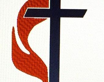 DE21 Methodist Cross & Flame (5 X 7)
