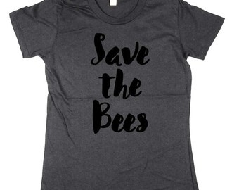 Bees shirt - Womens Bees Shirt - Save the Bees - bumble bee, honey bee, womens, ladies, Moss, Brown, Navy, Small, Medium, Large, XL, 2XL