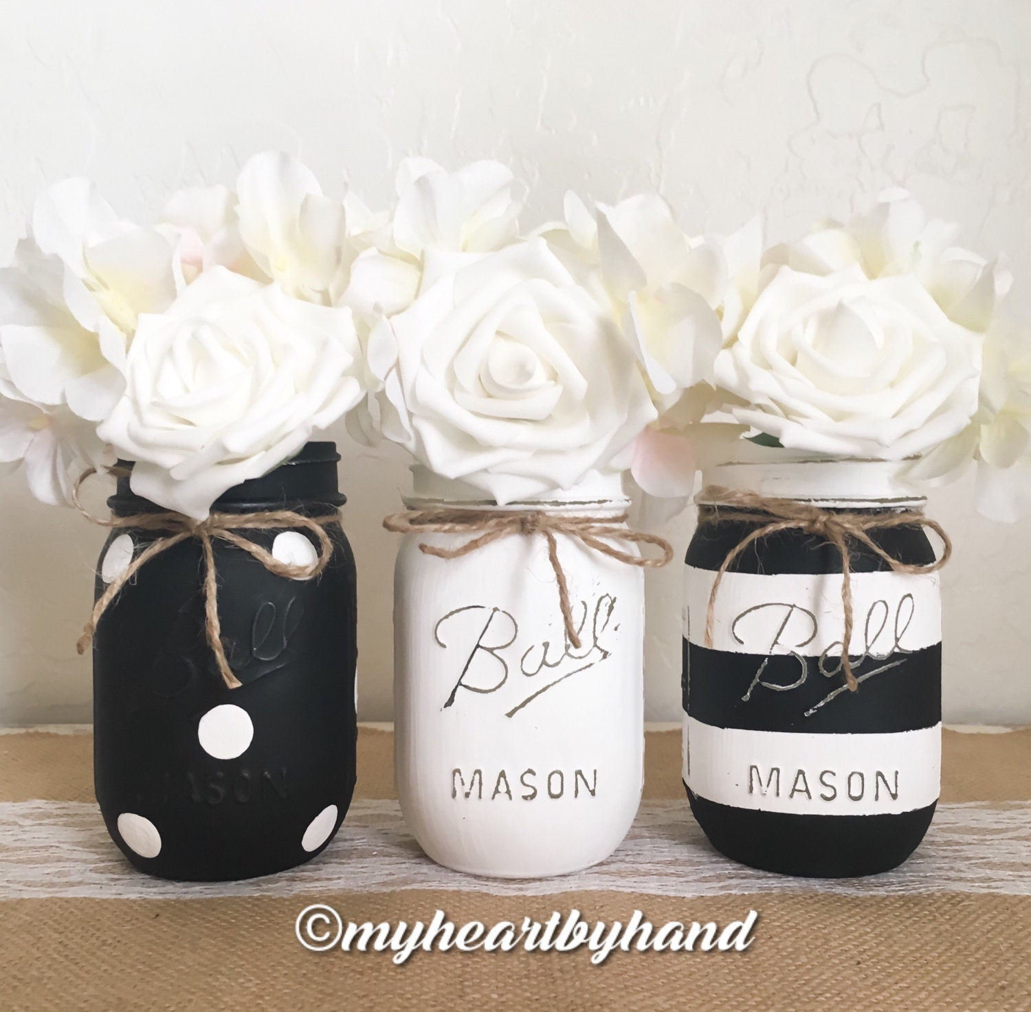 Black and White Mason Jar Centerpieces Distressed Mason Jars