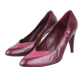 Vintage real leather of high heels in red 39