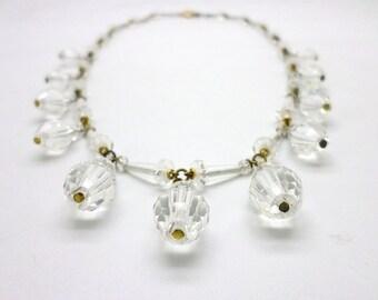 Vintage Faceted Crystal Dangle Necklace Gold Filled Metal