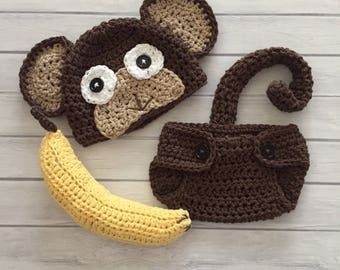 Newborn monkey hat and diaper cover newborn photo prop monkey hat and banana baby monkey hat newborn monkey outfit