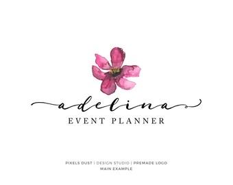 Floral Logo, Premade Logo Design, Magnolia Logo, Watercolor FLower, Watercolor Logo, Gold Foil Logo Photography Blog Logo Script Delicate