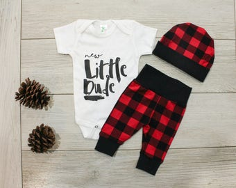 Baby Boy Coming Home Outfit Winter, Buffalo Plaid Leggings and Beanie for Newborn Boy, Newborn Boy Hospital Outfit, New Little Dude, Brother