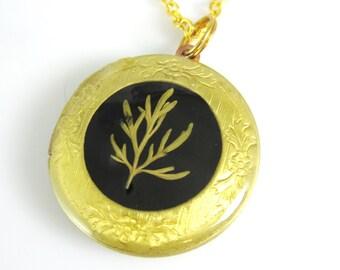 Vintage Pressed Flowers Locket, Sprig of Grass, Real Flowers, Pressed Flower Jewelry (1416)