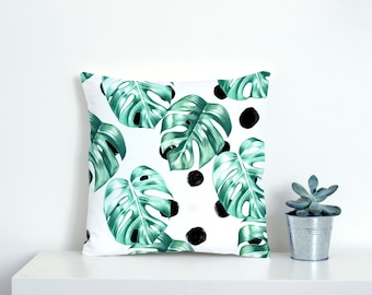 Monstera Leaf Pillow  - green cushion cover - green leaves pillow - greenery cushions - botanical cushions