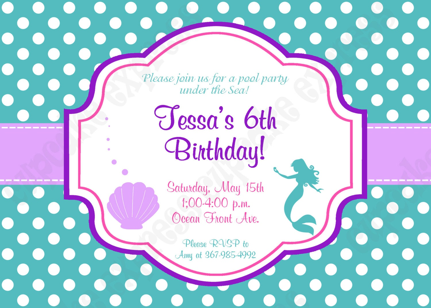 Ariel Invitation Inspired little mermaid Birthday Party