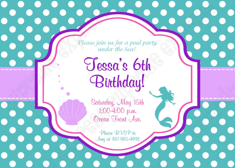 Ariel Invitation Inspired little mermaid Birthday Party