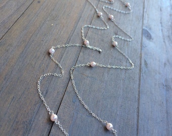 "Tiny Pink Pearl Sterling Silver Necklace. Stationary chain necklace.  Pearls. Delicate jewelry.  12 to 36"" long. June birthstone"