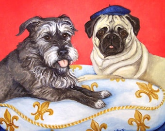 Pet Portrait Painting of TWO pets, 11x14 acrylic painting