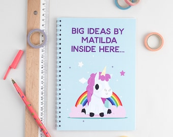 Personalised Unicorn Notepad, Spiral Bound,  Lined or Unlined Note Pad or Sketch Pad