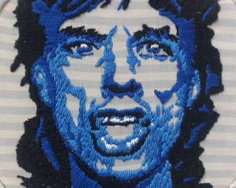 Mick Jagger- The Rolling Stones Hand Embroidery Portrait Hoop Art 8 Inches with Up-cycled Vintage Striped Shirt Material