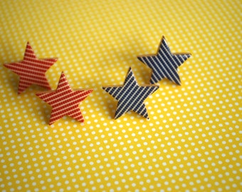 Star Earrings -- Studs, Star Studs, Red and Blue Stars, 4th of July Earrings, Choose Your Color!