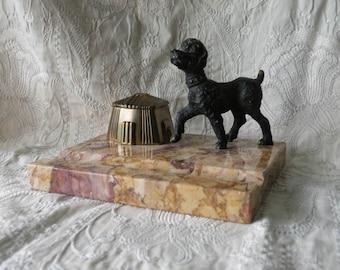 French vintage marble dog inkwell - vintage desk tidy - vintage office - dog inkwell - office decor - interior design - art deco inkwell