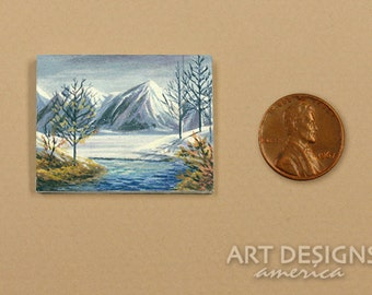 Miniature Landscape Acrylic Painting, Winter Mountain, Stream, Dollhouse Art, SFA, Small Format Art, Actual Painting, Not a Print, ADA-OMA01