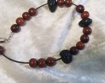 Wood and rock bracelet