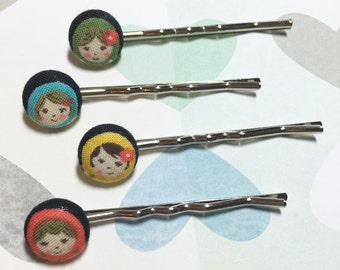 Cute Doll Bobby Pins, Matryoshka Russian Dolls, Russian Doll Hair Accessories, Doll Bobby Pins, Cute Hair Accessories, Nesting Doll Hair Pin