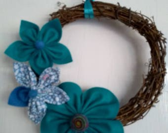 Rattan garland/wreath with handsewn felt & fabric flowers