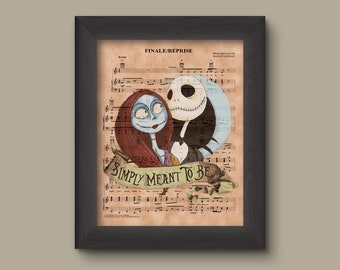 Nightmare Before Christmas Simply Meant to Be Sheet Music Art Print Wedding Gift Jack And Sally Wedding Jack Skellington Theme Wedding. & Simply meant to be | Etsy