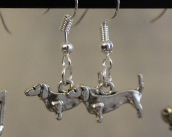 Sausage dog silver charm earrings