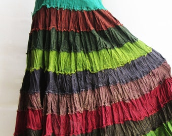 S3, Wavy Hippie Colorful Green Cotton Skirt