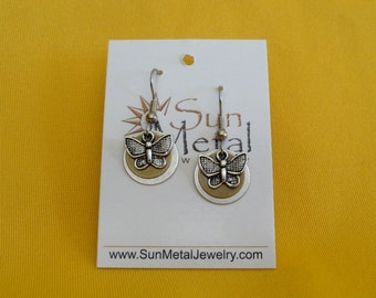 Butterflies are free to fly silver and gold earrings (Style #282G)
