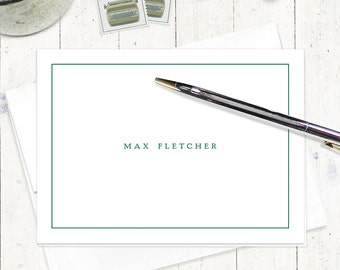 personalized stationery set - PERFECTLY SIMPLE on WHITE - set of 8 folded note cards - business - modern stationary - men's stationery