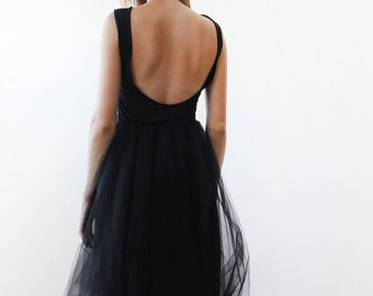 Black open back maxi tulle dress, Low back tulle gown 1087