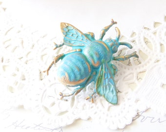 Verdigris Bumble Bee Hair Clip - Green Mint Patina Bumblebee - Woodland Alligator Hair Pin - Wedding Hair - Wings - Nature - Flying Insect