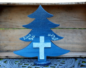 Wooden Tree, Wooden Cross, White Cross, Table tree, Christmas Tree, Silent Night, Holy Night, Blue Christmas, Christmas decor, Blue tree