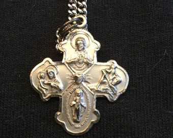 Vintage Sterling Cross Medal with Chain