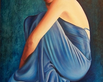 Anna- Classic Beauty, fine art giclee reproduction, blue dress, woman, original painting, Glenda Okiev