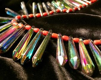Rare Vintage Mardi Gras Beads- made into a necklace