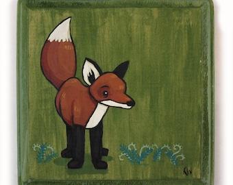 Fox Art - Small Original Wall Art Acrylic Painting on Wood by Karen Watkins - Red Fox on Green Miniature Artwork - Woodland Animals Art