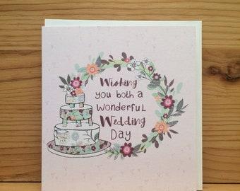 Wedding card,Peel Cards, Wonderful wedding,Butterfly,Greetings card,Wedding cake,flowers,special card,pink,wreath G35