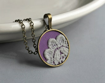 Pink Purple Small Round Pendant, Faded White Vintage Lace Necklace, Orchid Color, Cute Gift For Women, Teachers, Moms, Sisters