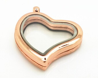 Floating Locket Heart - Memory Locket - Glass Locket - Gold Color 30mm