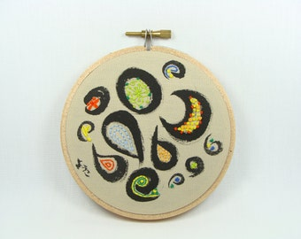 Japanese calligraphy with Hand Embroidered Wall Art - Water Festival, orient, 4 inch hoop, colorful decoration, custom work available