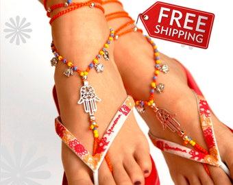 Silver Hamsa Hand Barefoot Sandal, Yoga, Orange Barefoot Sandals, Anklet